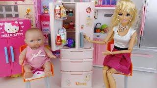 Baby doll and barbie refrigerator food toys bath play 아기인형 바비 냉장고 음식 목욕놀이 장난감 - 토이몽