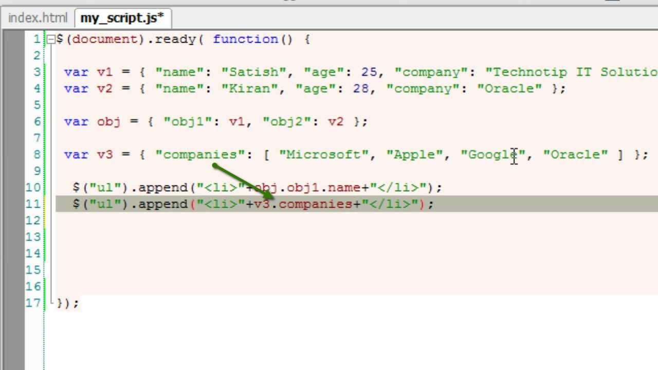 javascript add array to json object