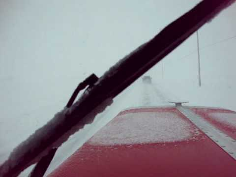 Bad winter weather. Driving home on route 62 south of Columbus, Ohio. Very short clip.