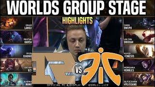 RNG vs FNC Highlights Worlds 2019 Group Stage Day 4 - Royal Never Give Up vs Fnatic Highlights World