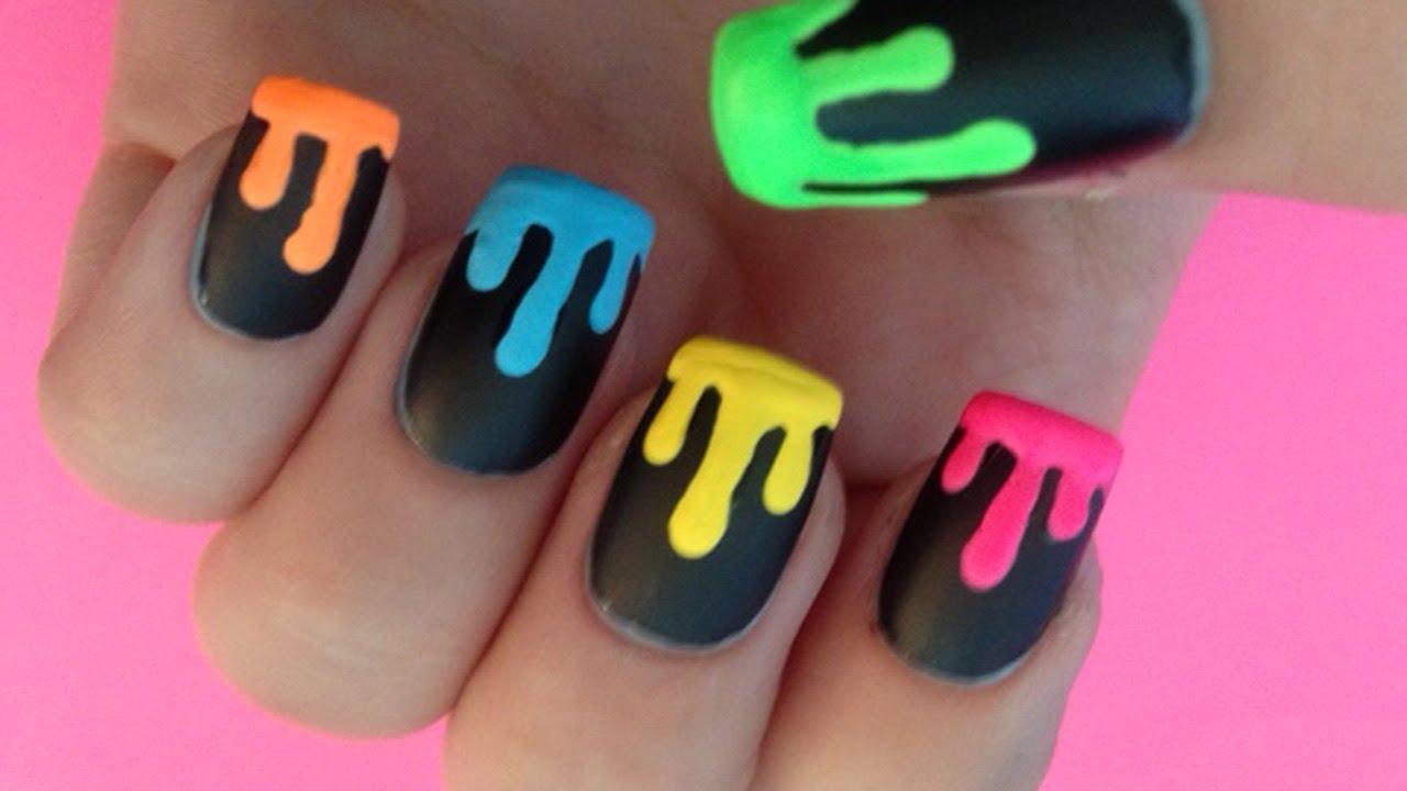Color Drip Nails Dripping Neon Paint Nail Art
