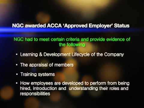 "NGC Awarded ACCA ""Approved Employer"" Status"