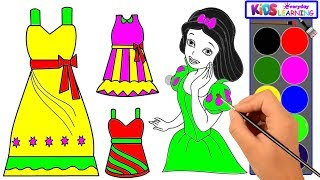 How to Draw Girls Dresses Rainbow. Coloring and Drawing Princess's Dresses. learning coloring pages.