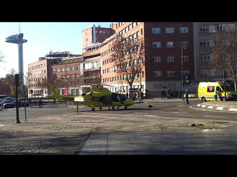 Espectacular aterrizaje de helicoptero en el centro de Madrid