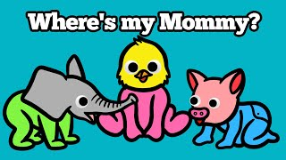 Baby Find Mom Animals for Kids | Learn Names and Sounds Puzzle Animation Learning For Children