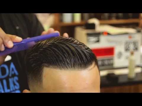 Mid Skin Fade Pomp Over with Hard Part