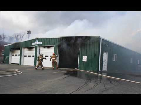 Pictures of Alleghany EMS building on fire in Sparta NC