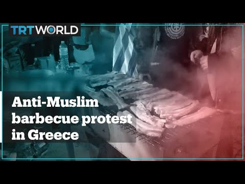 Greek far-right group holds pork-and-alcohol barbecue outside migrant camp