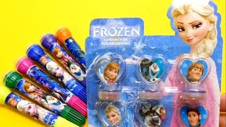 FROZEN Anna Elsa Olaf Pens with Stamps & FROZEN Stamps for School