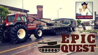 EPIC QUEST! LEOPARD1 moved by farm tractors DEUTZ FAHR and FIATAGRI