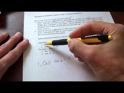 Calculating gains and losses on Call and Put option transactions