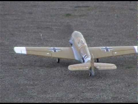 RC FMS MINI BF-109 flight (take off and landing)