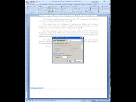 Word 2007 : Numérotation page d'un dossier à partir de de l'introduction