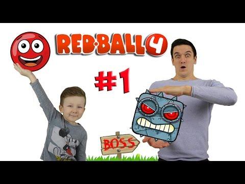 RED BALL 4 Красный Шарик vs Черный Квадрат Зеленые Холмы Прохождение Игры про Шарик