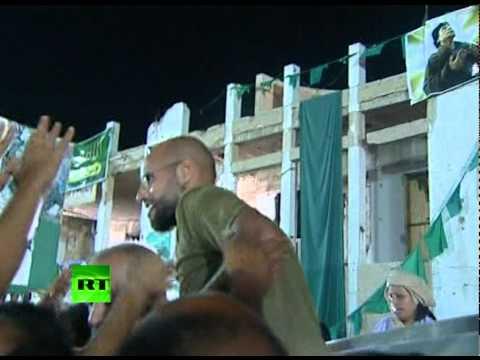 Video of Gaddafi son Saif al-Islam amid cheering crowds in Tripoli