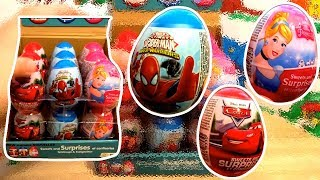 Spiderman Cars Princess 18 Kinder Surprise Eggs