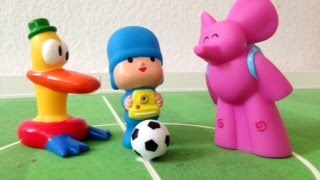 Pocoyo play soccer with elly and pato