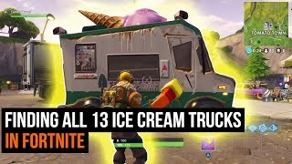 ALL 13 Ice Cream Truck Locations in Fortnite - Season 3 Challenges