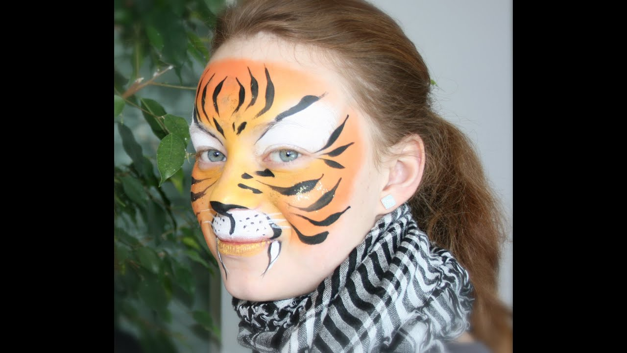 Easy Tiger Face Painting Tutorial - Tiger Makeup - YouTube