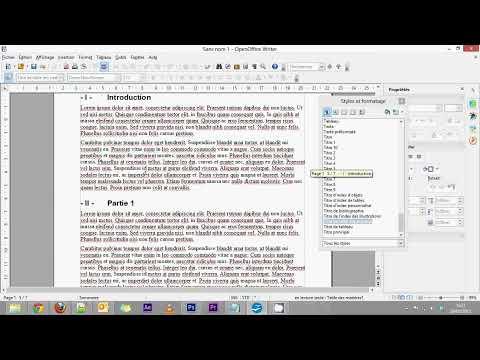 OpenOffice Writer - Partie 6 - Création d'un sommaire automatique