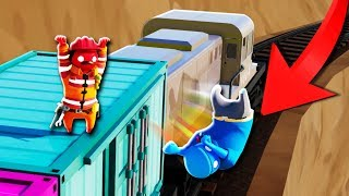 BROTHERS FIGHT ON MOVING TRAIN!? | Gang Beasts