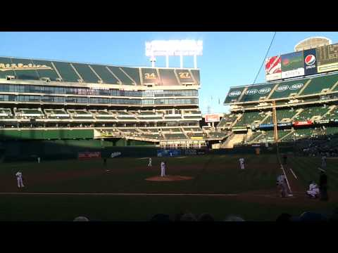Opening pitches of A's vs. Blue Jays at Oakland Alameda County Coliseum