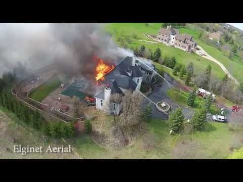 Drone video: 5-alarm Ill. house fire