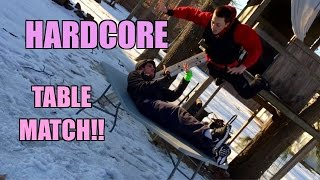 FROG SPLASH through a TABLE! Crazy Backyard Wrestling MATCH! Grims Toy Show
