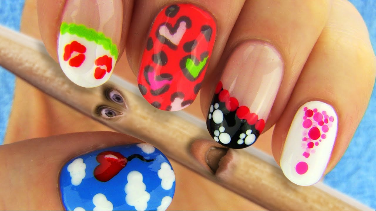 6 Nail Art Designs Nail Tutorial Using Toothpick as a