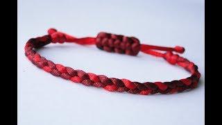 How to Make a 3 Strand Flat Braid Sliding Knot Friendship Bracelet- Satin Cord/Micro Cord