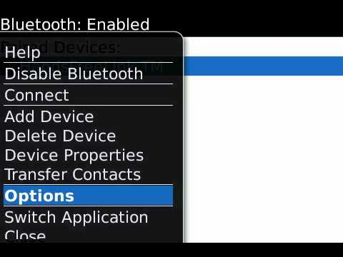 How to share contacts via BlueTooth on BlackBerry 5