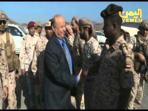 الرئيس هادي يتجول في العند ويزور مناطق التماس أطراف تعز
