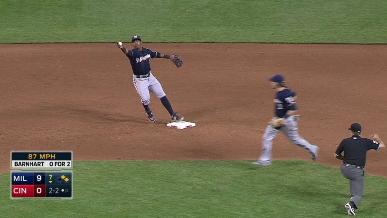 MIL@CIN: Gennett catches liner, nabs Byrd at second