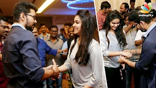 Vijay gifts gold chain to Keerthi Suresh and Bairavaa Team