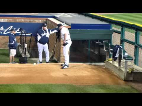 Justin Verlander works on his wicked stuff in the bullpen