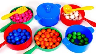 Learn Colors with Candy and Pots and Pans Playset for Children | Learning with Yippee Toys