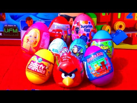 Unwrapping 9 surprise eggs from Toy Story, Disney Pixar Cars 2, Hello Kitty, Beanie Kids, Kinder Surprise Ice Age 4, Trash-Pack, Party Animals, Barbie Prince...