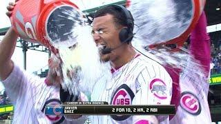 WSH@CHC: Baez gets an ice bath in postgame interveiw