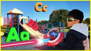Pretend Play Avengers Captain America NERF Blaster Learning ABC Letter Alphabets
