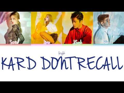 K.A.R.D Don't Recall Lyrics [Colour Coded HAN/ROM/ENG]