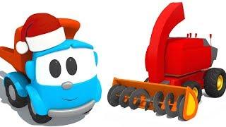 Léo o caminhão. Limpa-neve. Desenhos animados de carros