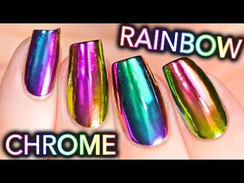 DIY RAINBOW CHROME Nails w/ NEW multi-chrome powder! NO GEL!