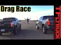 2017 GMC Canyon Duramax vs Chevy Colorado V6 Drag Race: Diesel vs Gasoline 0-60 MPH Mashup