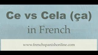Ce vs Cela (or ça) in French