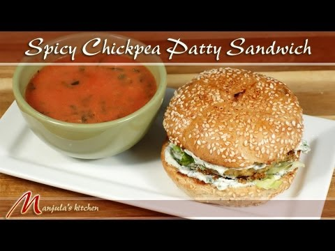 Spicy Chickpea Patty Sandwich Recipe by Manjula