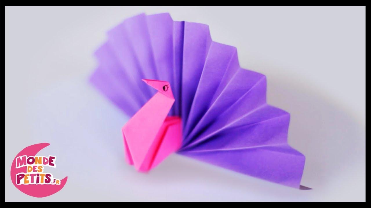 Origami le paon en papier pli youtube - Origami video facile ...
