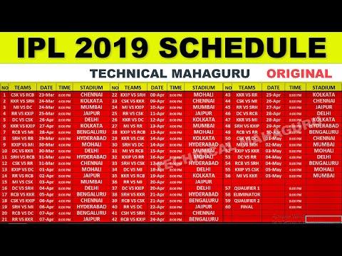 IPL 2019 SCHEDULE - IPL 2019 DATE, TIME AND VENUS FULL LIST - TECHNICAL MAHAGURU