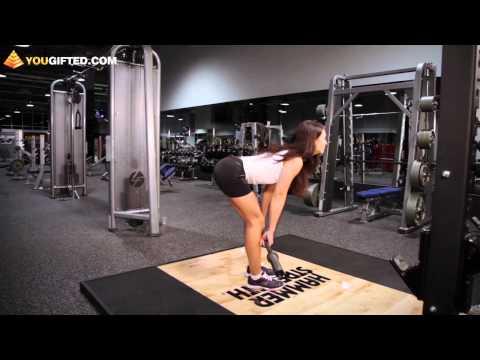 Фитнес. Упражнения для ягодиц. Тяга на прямых ногах.