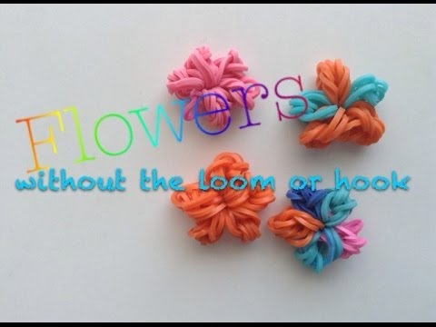 EASY Rainbow Loom Flower Charms without Loom or Hook