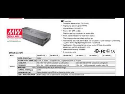 Thông số Mean Well TS-1500-112,TS-1500-124, TS-1500 -148, TS-1500-212 ,TS-1500-224, TS-1500-248